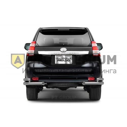 Защита заднего бампера двойная угловая Ø63/51мм (НПС) Toyota LAND CRUISER PRADO 150 2013-2016 на автомобиль
